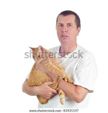 A man with an orange tabby cat isolated on white background. - stock photo