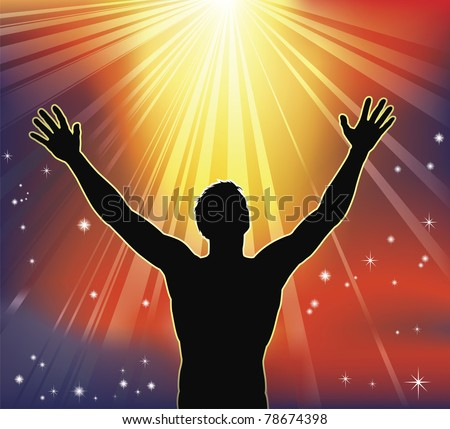 A man with arms raised to heaven. Conceptual illustration with many religious or secular interpretations. - stock photo