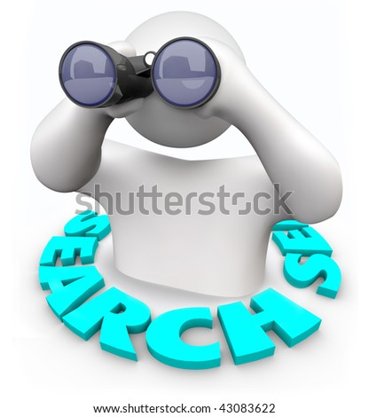 A man with binoculars surrounded by the word Search