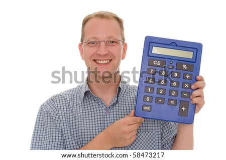 A man with calculator - stock photo
