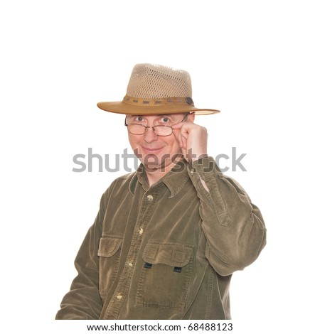 A man with eyeglasses in hat isolated on white.