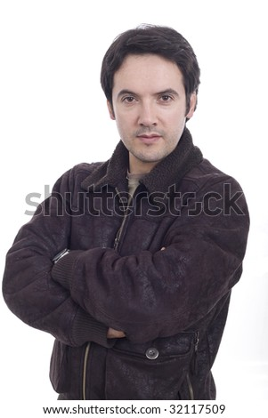 A man with his arms crossed with white background - stock photo