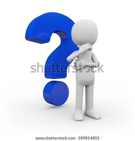A man with question mark on white background - stock photo
