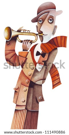A man with trombone - stock photo