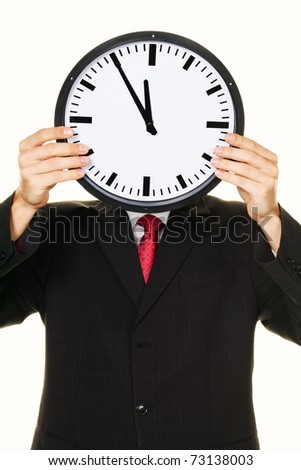 A manager in the head before stress with Clock. Working in the office. - stock photo