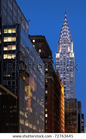 A Manhattan view at night - stock photo