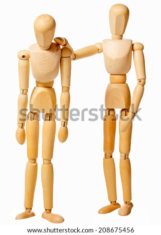 a mannequin encouraging another - stock photo