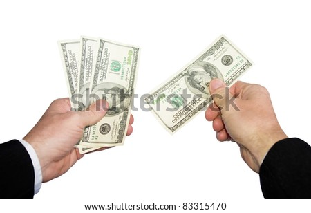 A mans hand taking money. Clipping path included.