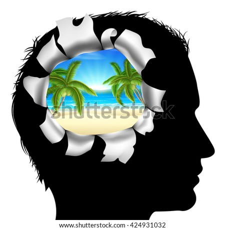 A mans head in silhouette with a tropical beach vacation scene. Concept for thinking or dreaming about a tropical beach vacation - stock photo