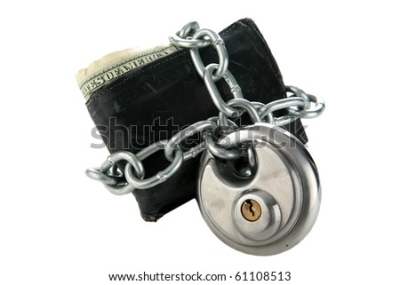 a mans wallet with a chain and lock. isolated on white - stock photo