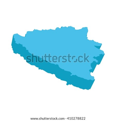 A map of Bosnia and Herzegovina 3D on white background - stock photo