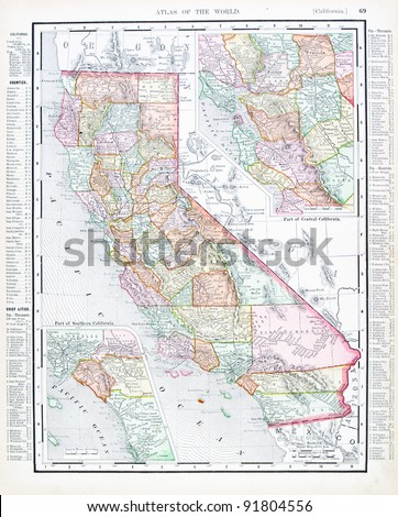 A map of California, USA from Spofford's Atlas of the World, printed in the United States in 1900, created by Rand McNally & Co. - stock photo