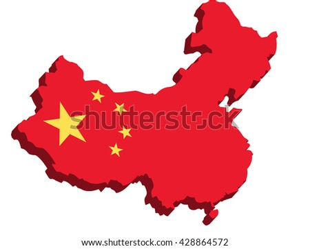 A map of China 3D on white background