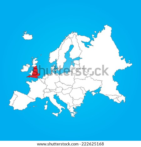 a map of europe with a selected country of england