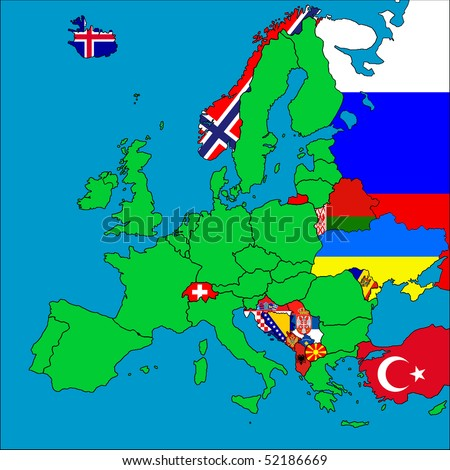 A map of Europe with all the non-EU member countries represented by their flags. - stock photo