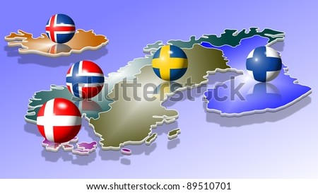 A map of five Scandinavian countries with their flags shaped as balls / Scandinavia - stock photo