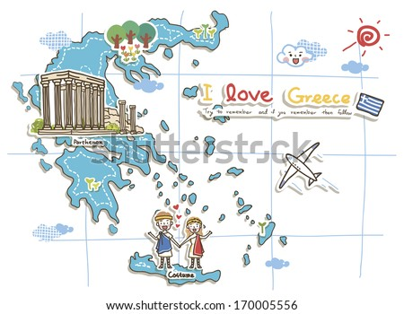 A map of Greece showcasing tourist destinations. - stock photo