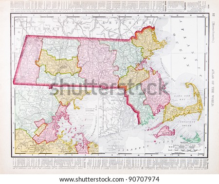 A map of Massachusetts, USA from Spofford's Atlas of the World, printed in the United States in 1900, created by Rand McNally & Co. - stock photo