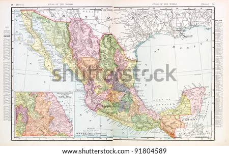 A map of Mexico from Spofford's Atlas of the World, printed in the United States in 1900, created by Rand McNally & Co. - stock photo
