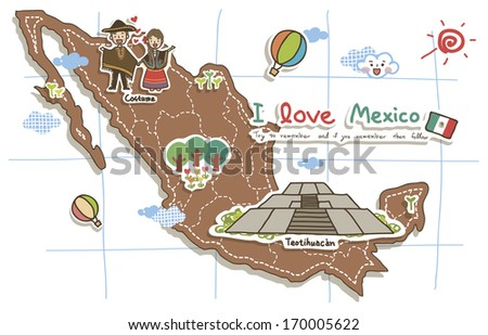 a map of mexico with tourist attractions noted on it