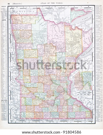 A map of Minnesota, USA from Spofford's Atlas of the World, printed in the United States in 1900, created by Rand McNally & Co. - stock photo
