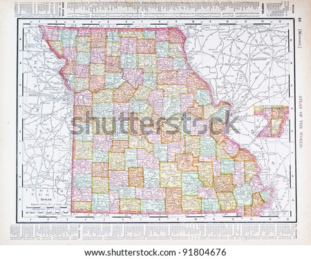 A map of Missouri, USA from Spofford's Atlas of the World, printed in the United States in 1900, created by Rand McNally & Co. - stock photo