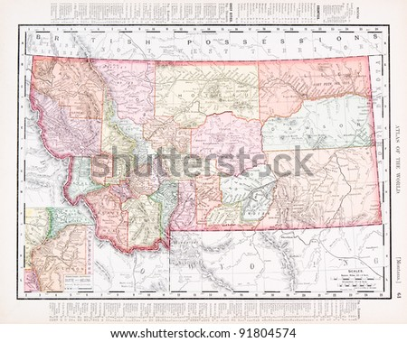 A map of Montana, USA from Spofford's Atlas of the World, printed in the United States in 1900, created by Rand McNally & Co. - stock photo