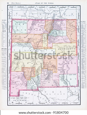 A map of New Mexico, USA from Spofford's Atlas of the World, printed in the United States in 1900, created by Rand McNally & Co. - stock photo
