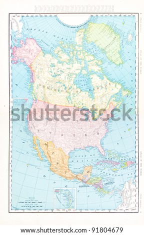 A map of North America from Spofford's Atlas of the World, printed in the United States in 1900, created by Rand McNally & Co. - stock photo
