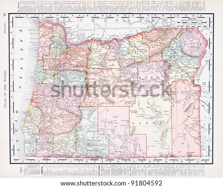 A map of Oregon, USA from Spofford's Atlas of the World, printed in the United States in 1900, created by Rand McNally & Co. - stock photo