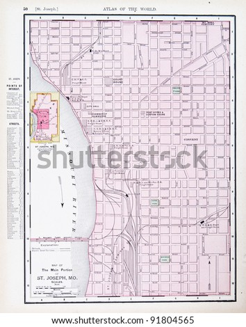 A map of St. Joseph, Missouri, USA from Spofford's Atlas of the World, printed in the United States in 1900, created by Rand McNally & Co. - stock photo