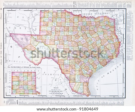 A map of Texas, USA from Spofford's Atlas of the World, printed in the United States in 1900, created by Rand McNally & Co. - stock photo