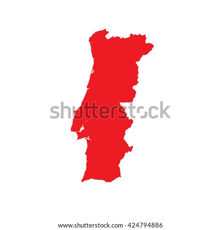 A Map of the country of Portugal - stock photo