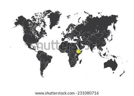 A Map of the world with a selected country of Ethiopia - stock photo