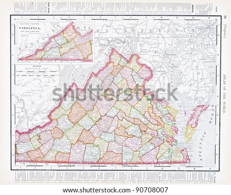 A map of Virginia, USA from Spofford's Atlas of the World, printed in the United States in 1900, created by Rand McNally & Co. - stock photo
