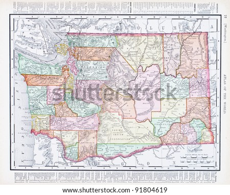 A map of Washington State, USA from Spofford's Atlas of the World, printed in the United States in 1900, created by Rand McNally & Co. - stock photo