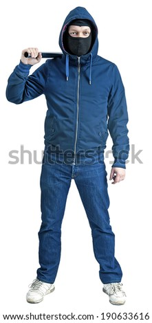 a marcher or a football ultras with metal pipe isolated on a white background  - stock photo