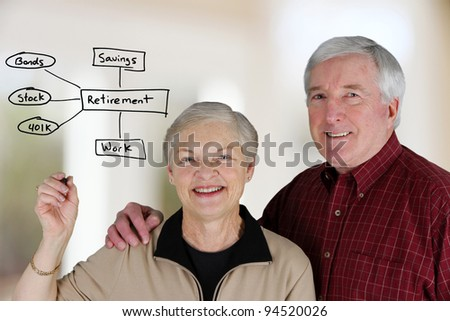 A married couple planning their retirement life - stock photo