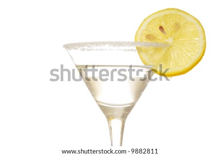 A martini decorated with a lemon. Shot against a white background.