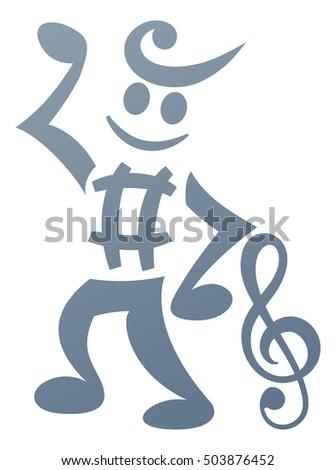 Mascot Character Made Musical Notes Music Stock Illustration
