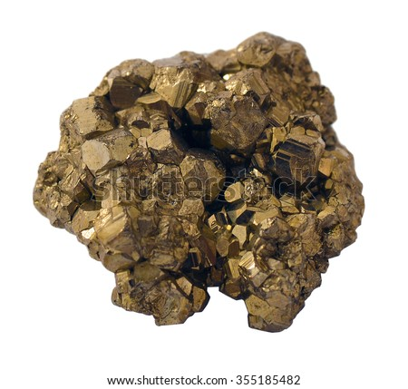 A mass of inter-grown pyrite crystals that look like a gold nugget. Isolated on white. Often called fool's gold. - stock photo