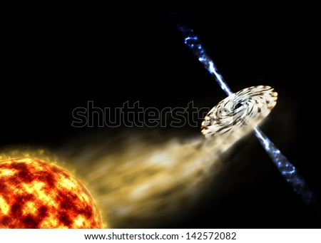 a massive feeding black hole tearing the red hot surface gas of a hugh red giant star and sucking it's mass by forming a accretion disc around with two stream of high speed plasma jets ejecting - stock photo