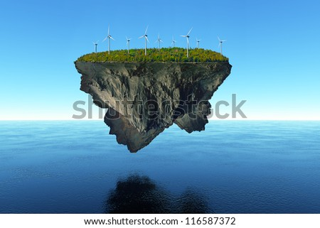 A massive island covered in trees floats over the calm water, powered by wind energy. - stock photo