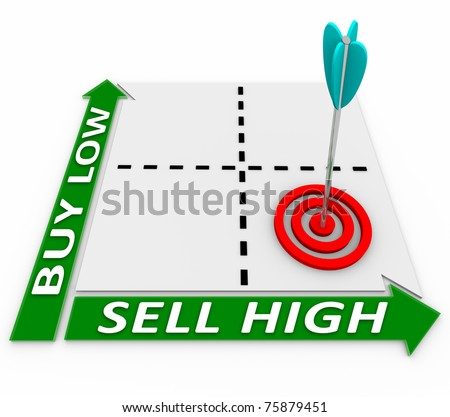 A matrix illustrating the core principle of growing your investments - buying low and selling high - stock photo