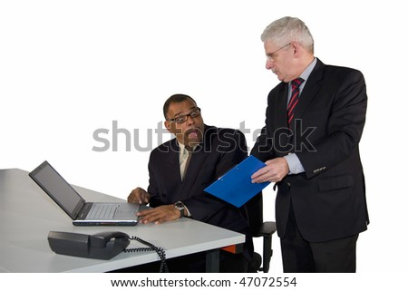 a mature African-American businessman being instructed by his boss, a caucasian senior manager, isolated on white background - stock photo