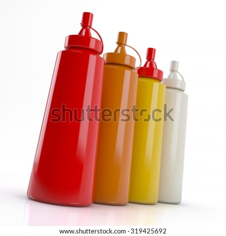 A mayonnaise Mustard chilli and tomato ketchup bottles isolated on white background