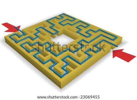 A maze - arrows point at entrances, solution leads to copyspace in the center of the puzzle.