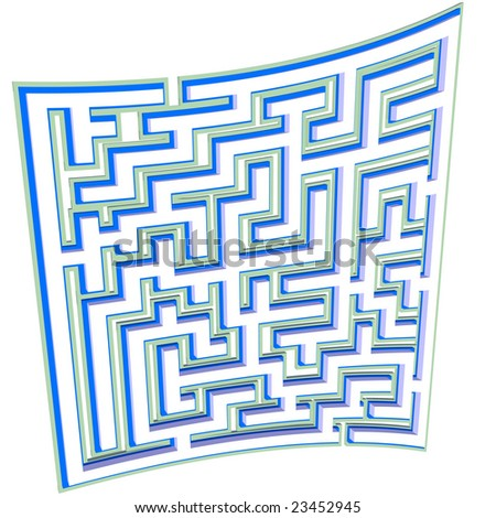 A maze plan blueprint background curved like a puzzle on a piece of paper.