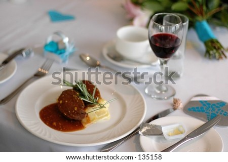 A meal with red wine