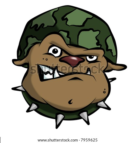 A mean bulldog in an army or military helmet. - stock photo